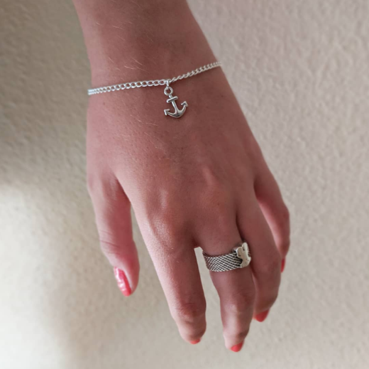 pulsera de plata con ancla para mujer y hombre
